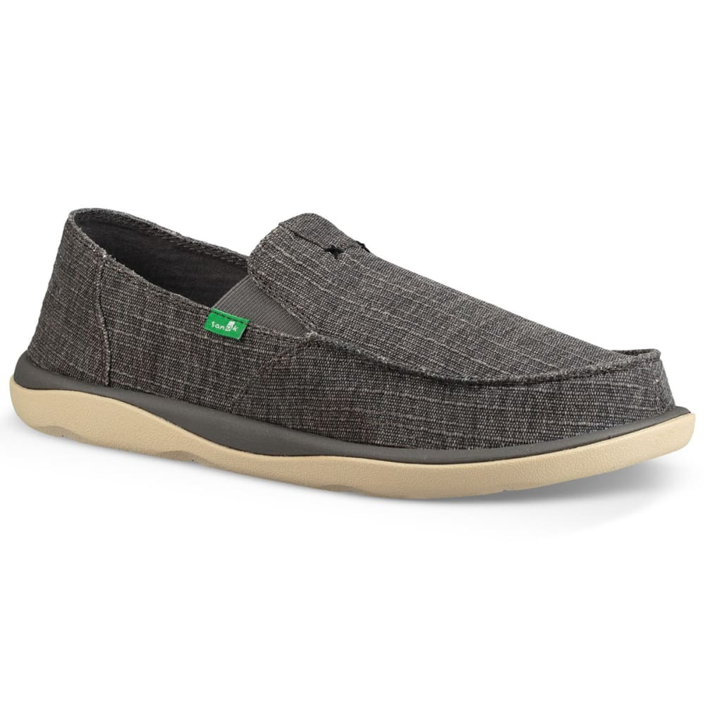 SANUK Men's Vagabond Tripper Grain Slub Casual Slip-On Shoes - CHARCOAL-CSLB