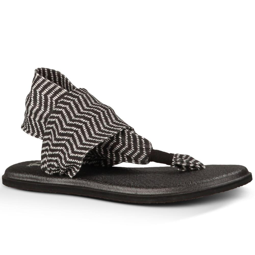 SANUK Women's Yoga Sling 2 Prints Sandals - BLACK/NATURAL