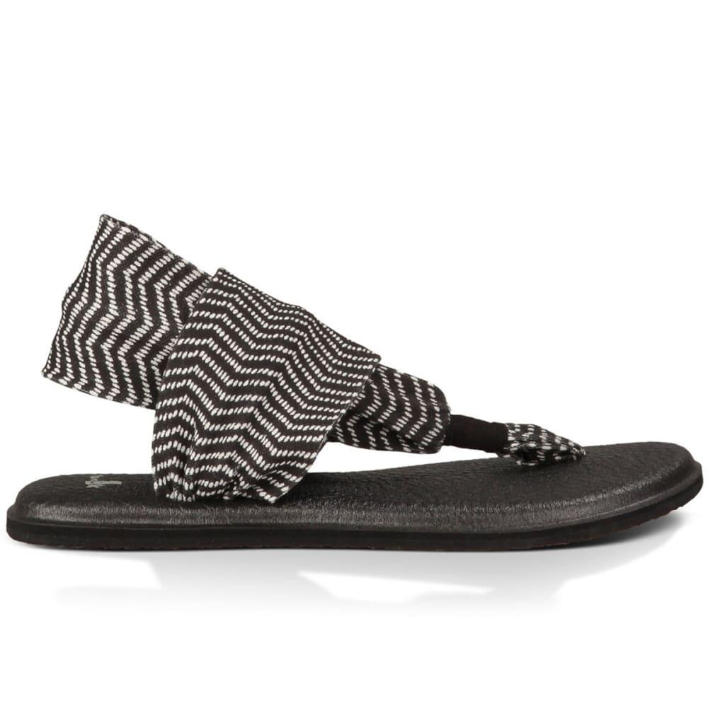 Sanuk Women's Yoga Sling 2 Prints Sandals - Black - Size 6 1015889-BNKT