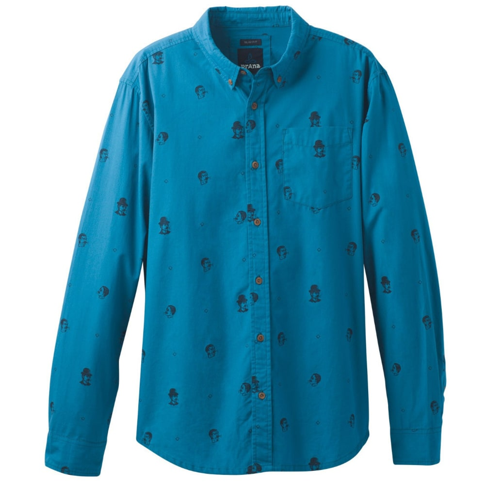 PRANA Men's Broderick Floral Long Sleeve Slim Shirt - RIVER ROCK BLUE