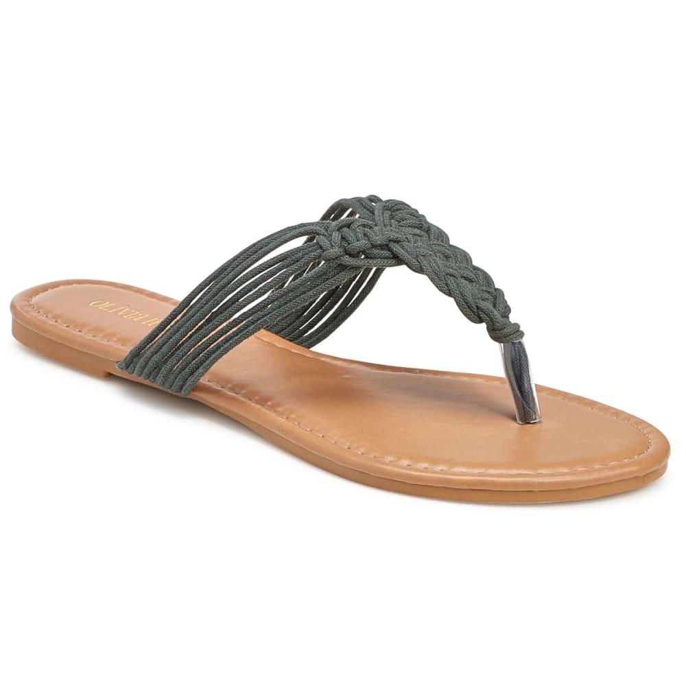 OLIVIA MILLER Women's Woven Rope Flat Sandals - OLIVE