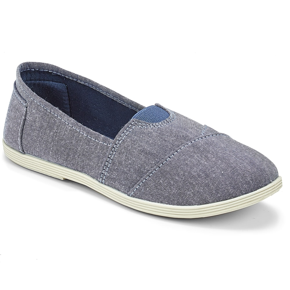 OLIVIA MILLER Women's Chambray Slip-On Casual Shoes - BLACK CHAMBRAY