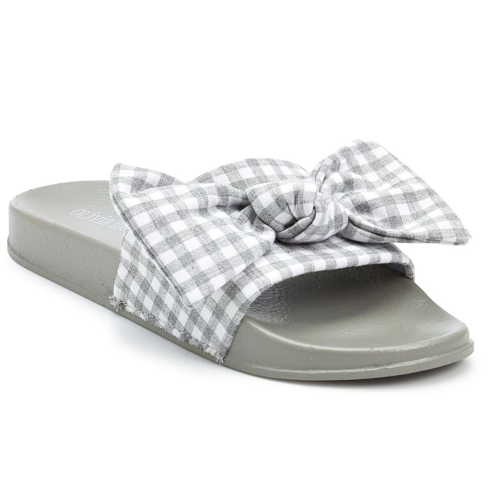 OLIVIA MILLER Women's Gingham Bow Slide Sandals - GREY