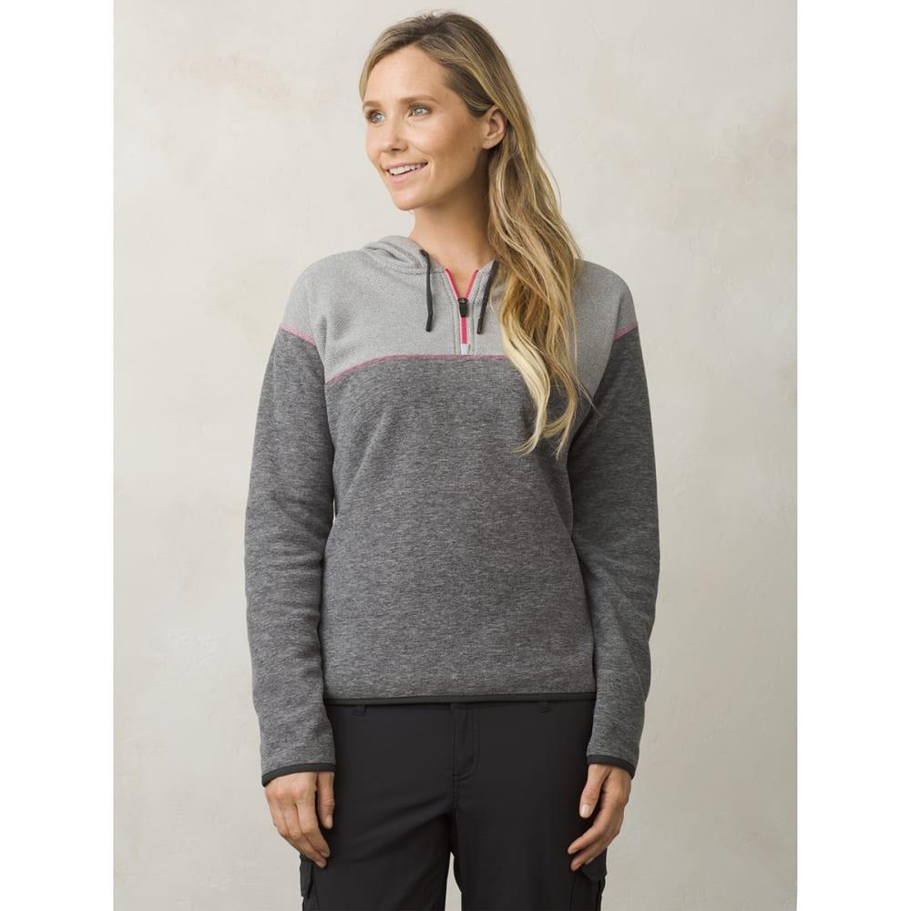 PRANA Women's Liora 1/4 Zip Fleece Hooded Pullover - GRAVEL