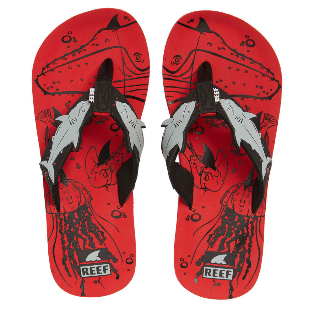 REEF Children's AHI SHARK Sandals - RED