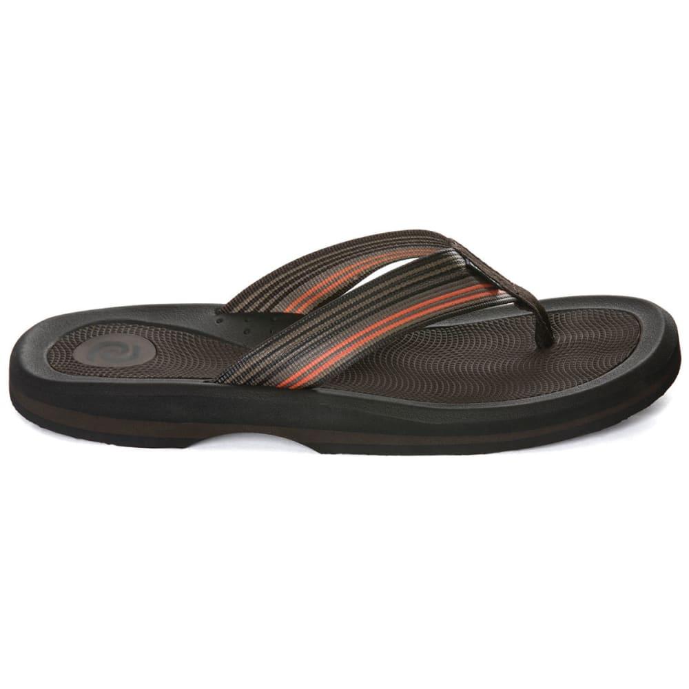 RAFTERS Men's Tsunami Stripe Flip Flops - BROWN MULTI-249