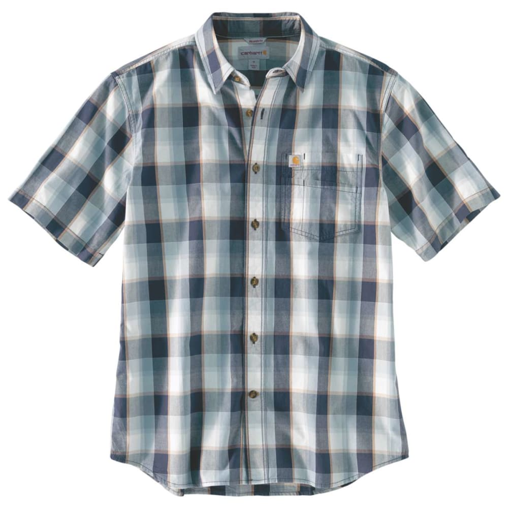 CARHARTT Men's Essential Plaid Open Collar Button Down Short-Sleeve Shirt - 412 NAVY