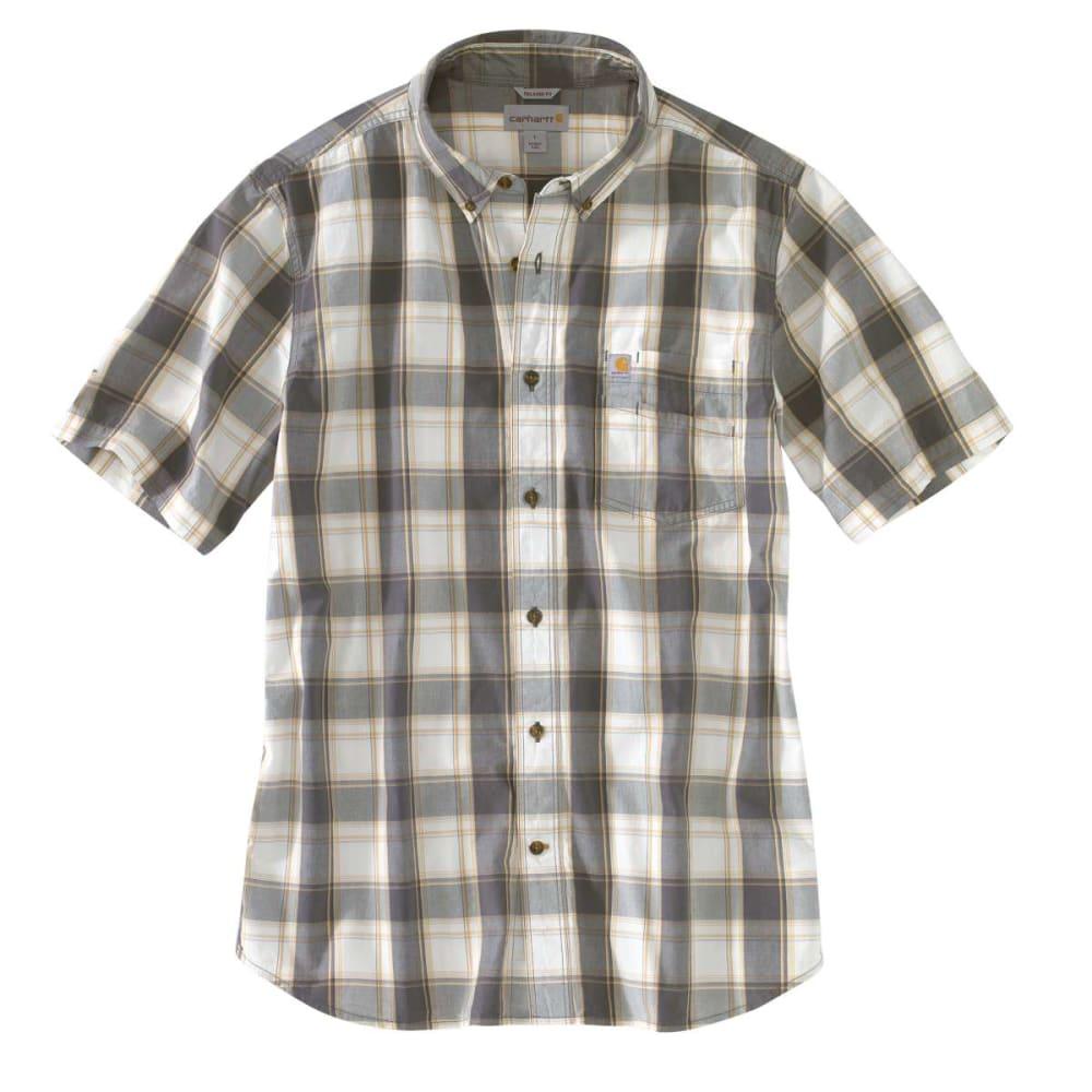 CARHARTT Men's Essential Plaid Button Down Short-Sleeve Shirt - 039 GRAVEL