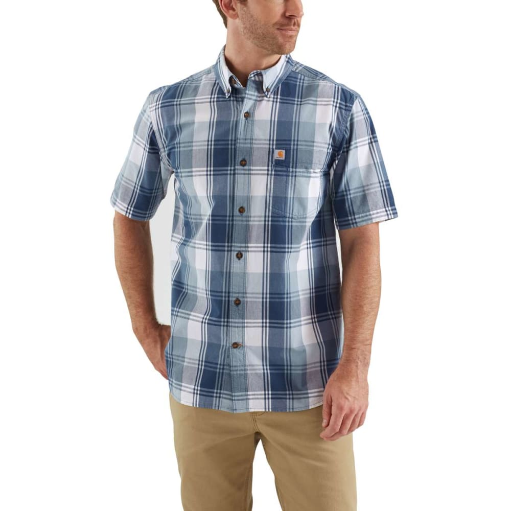 CARHARTT Men's Essential Plaid Button Down Short-Sleeve Shirt - 476 DARK BLUE