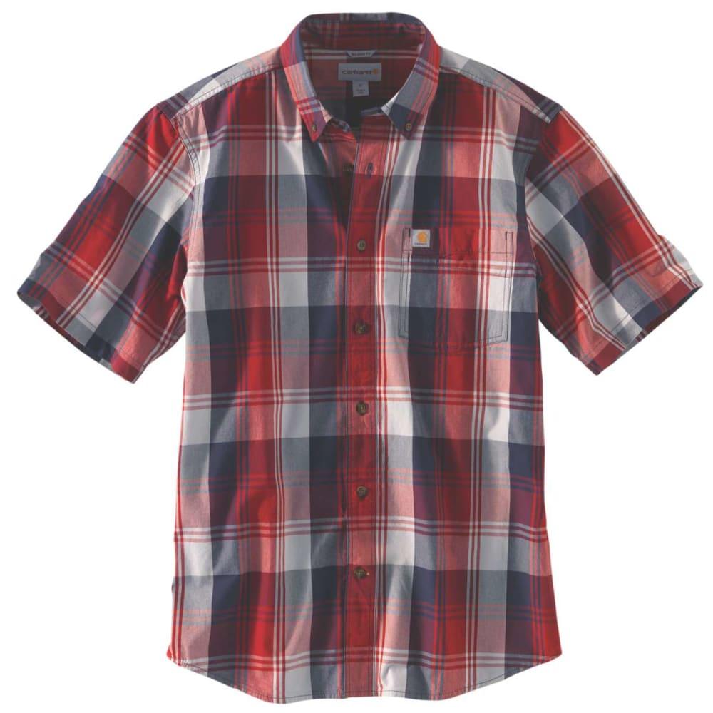 CARHARTT Men's Essential Plaid Button Down Short-Sleeve Shirt - 608 DK CRIMSON