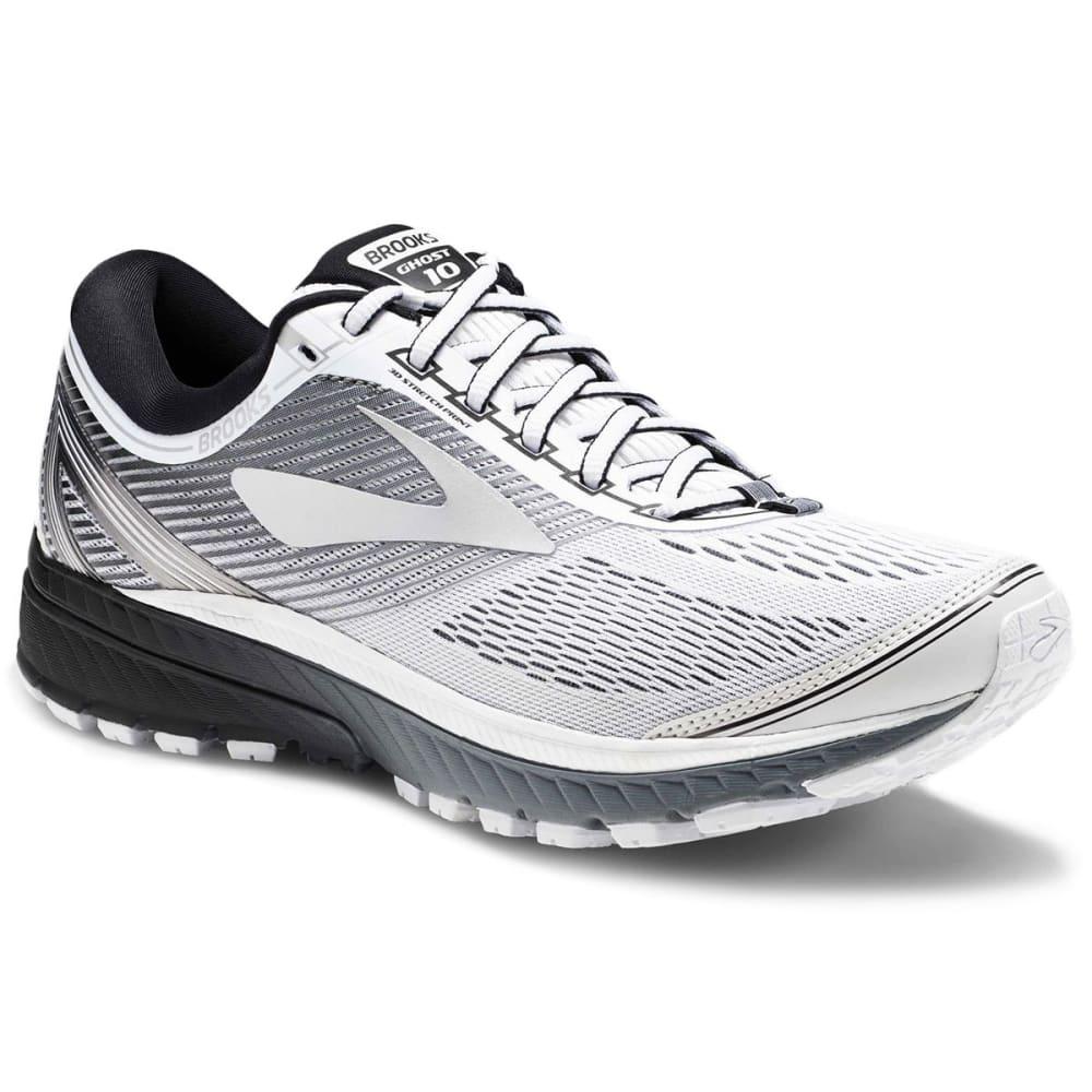 BROOKS Men's Ghost 10 Running Shoes, White - WHITE-167