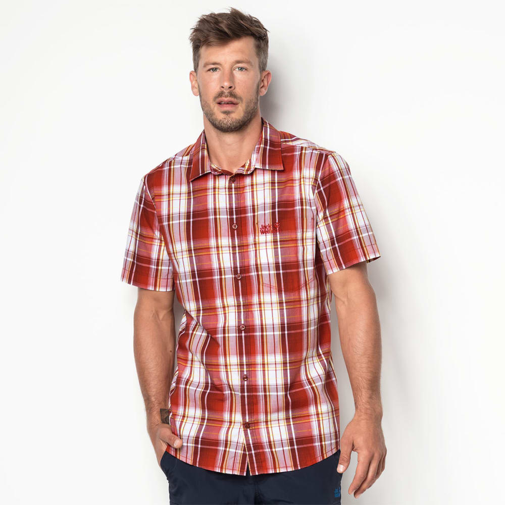 JACK WOLFSKIN Men's Hot Chili Short-Sleeve Shirt - 7961 VOLCANO RED CHE