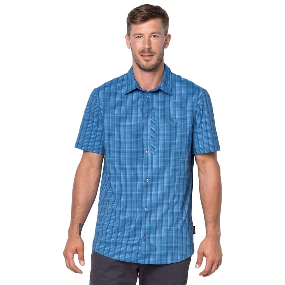 JACK WOLFSKIN Men's Rays Stretch Vent Short-Sleeve Shirt - 9010 WAVE BLUE CHECK