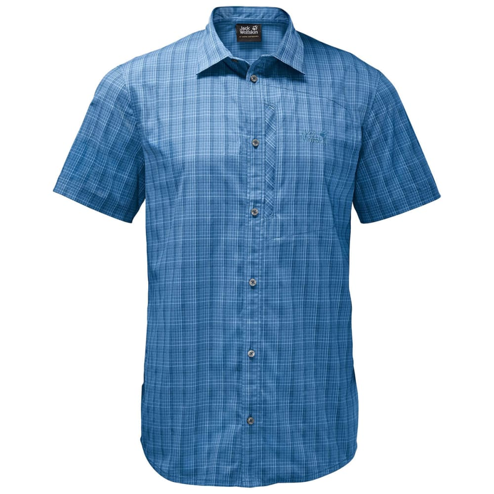 JACK WOLFSKIN Men's Rays Stretch Vent Short-Sleeve Shirt - 9010 WAVE BLUE CHECK
