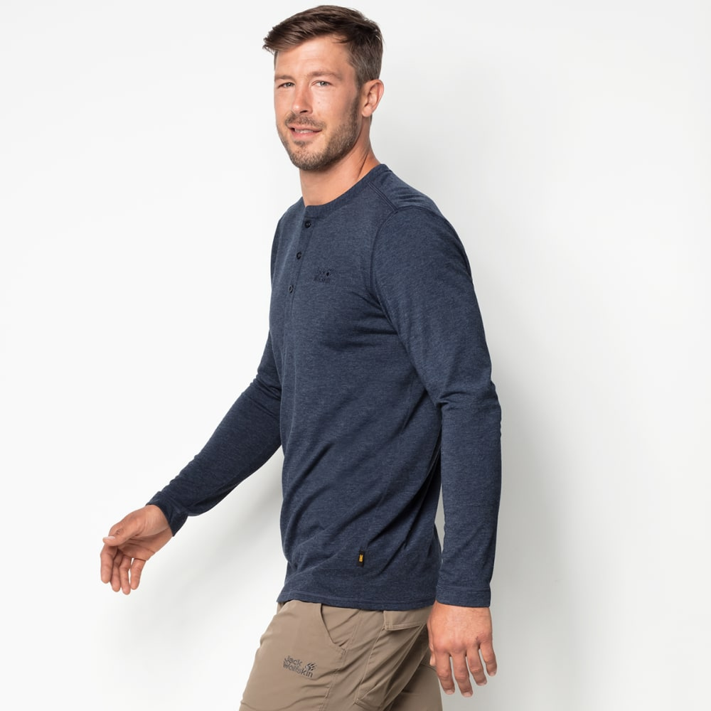 JACK WOLFSKIN Men's Moro Long-Sleeve Henley Shirt - 1010 NIGHT BLUE