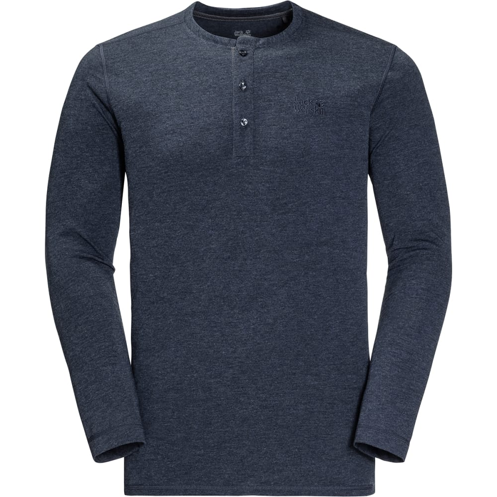 JACK WOLFSKIN Men's Moro Long-Sleeve Henley Shirt - 1010 NIGHT BLUE