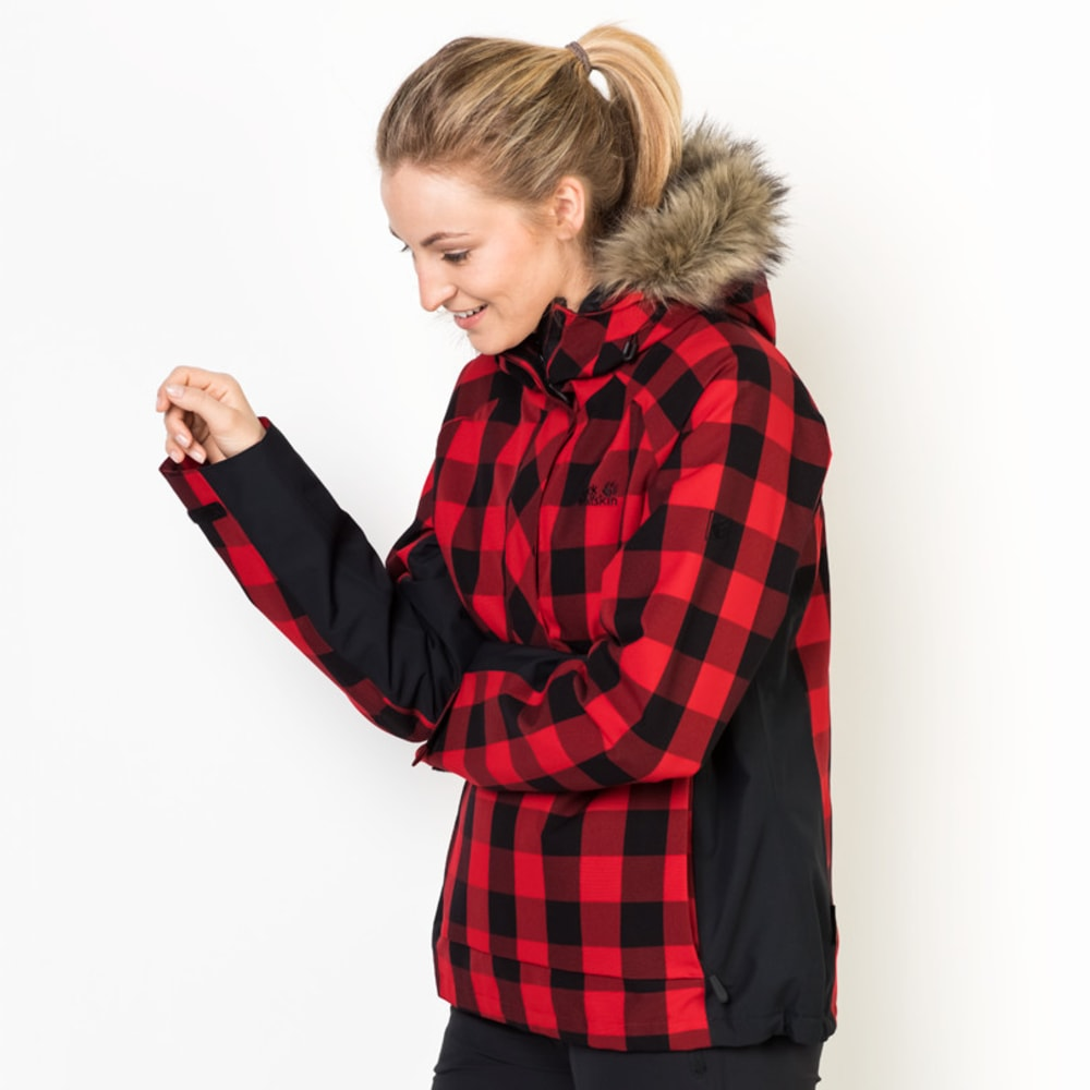 JACK WOLFSKIN Women's Timberwolf Pullover Jacket - 7989 RUBY RED CHECK