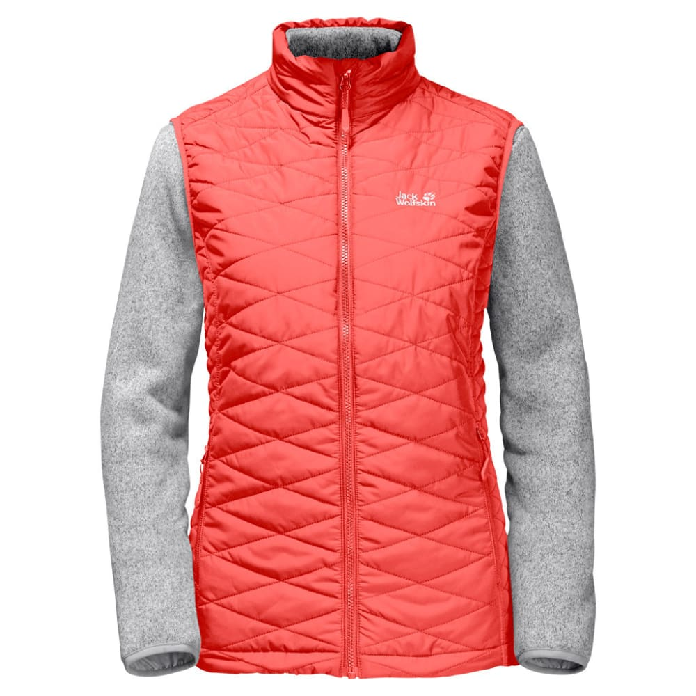 JACK WOLFSKIN Women's Caribou Glen 3-in-1 Vest and Fleece Set - 2043 HOT CORAL