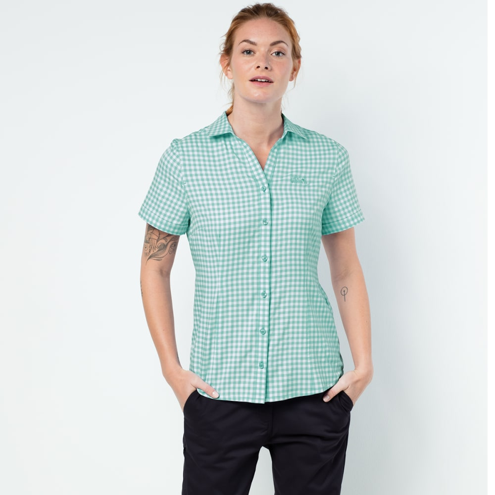 JACK WOLFSKIN Women's Kepler Short-Sleeve Shirt - 7734 PALE MINT CHECK