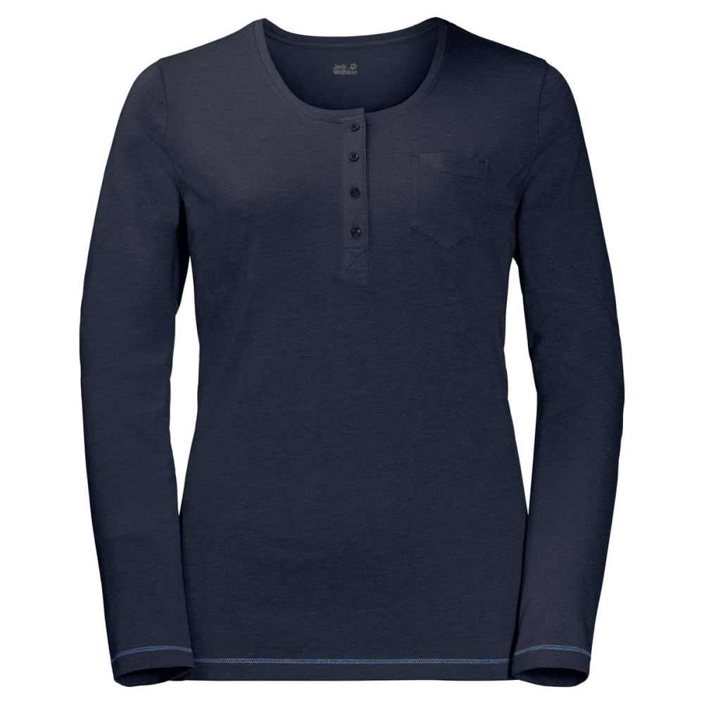 JACK WOLFSKIN Women's Essential Long-Sleeve Henley - 1911 MIDNIGHT BLUE