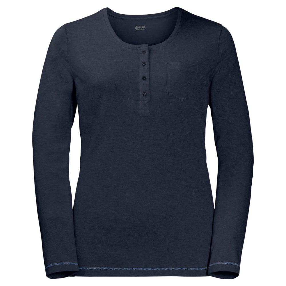 JACK WOLFSKIN Women's Essential Long-Sleeve Henley - 1911 MIDNIGHT BLUE