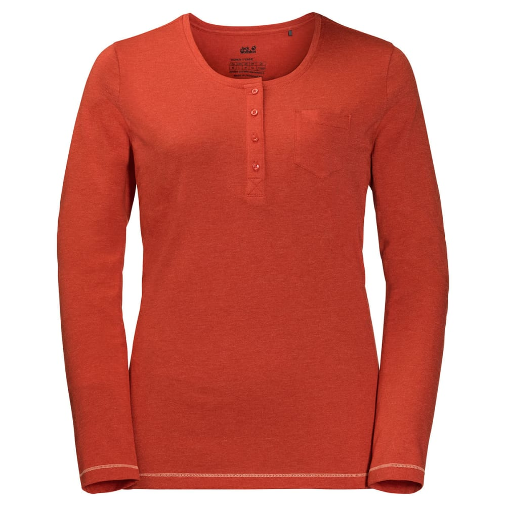 JACK WOLFSKIN Women's Essential Long-Sleeve Henley - 2001 VOLCANO RED