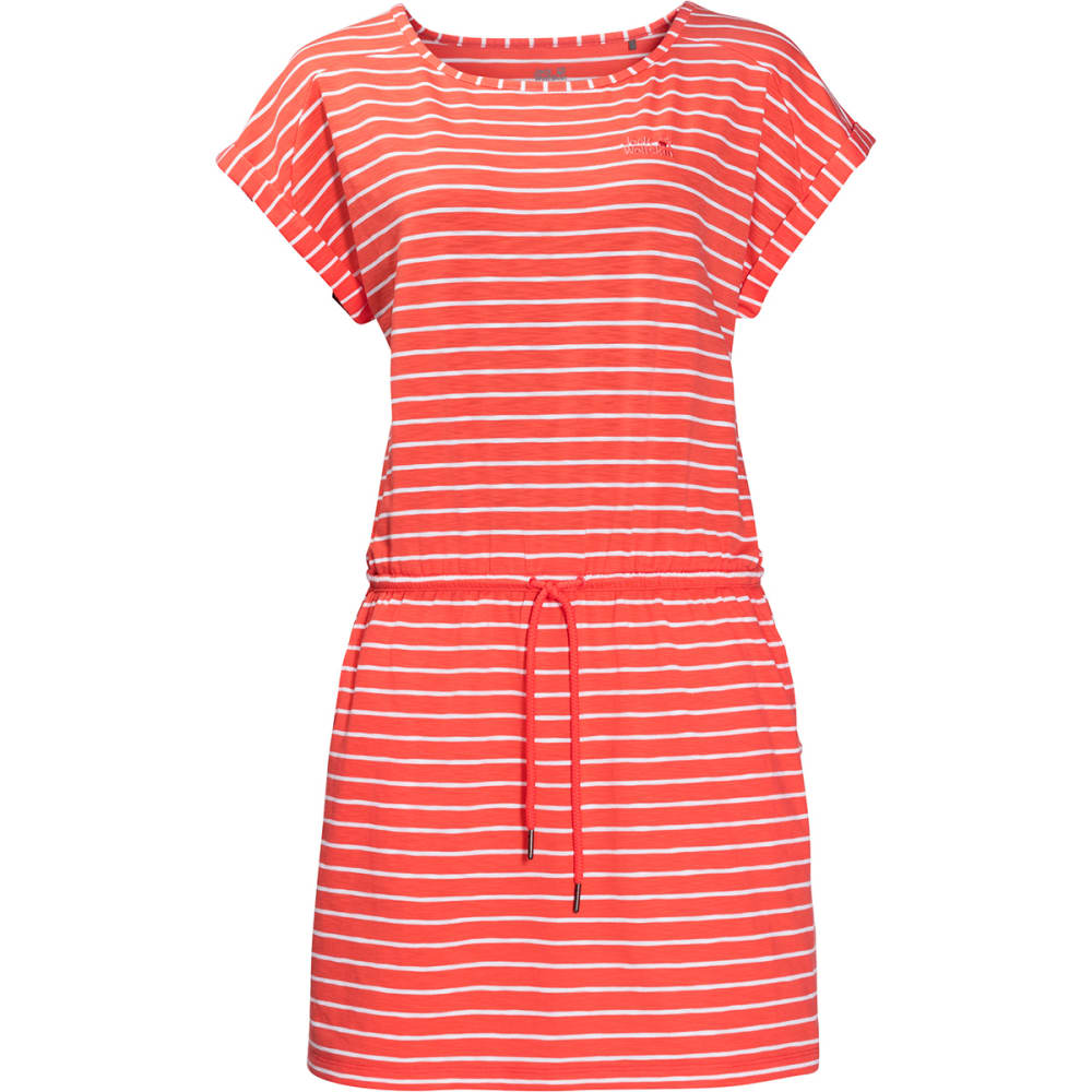 JACK WOLFSKIN Women's Travel Striped Dress - 7777 HOT CORAL STRIP