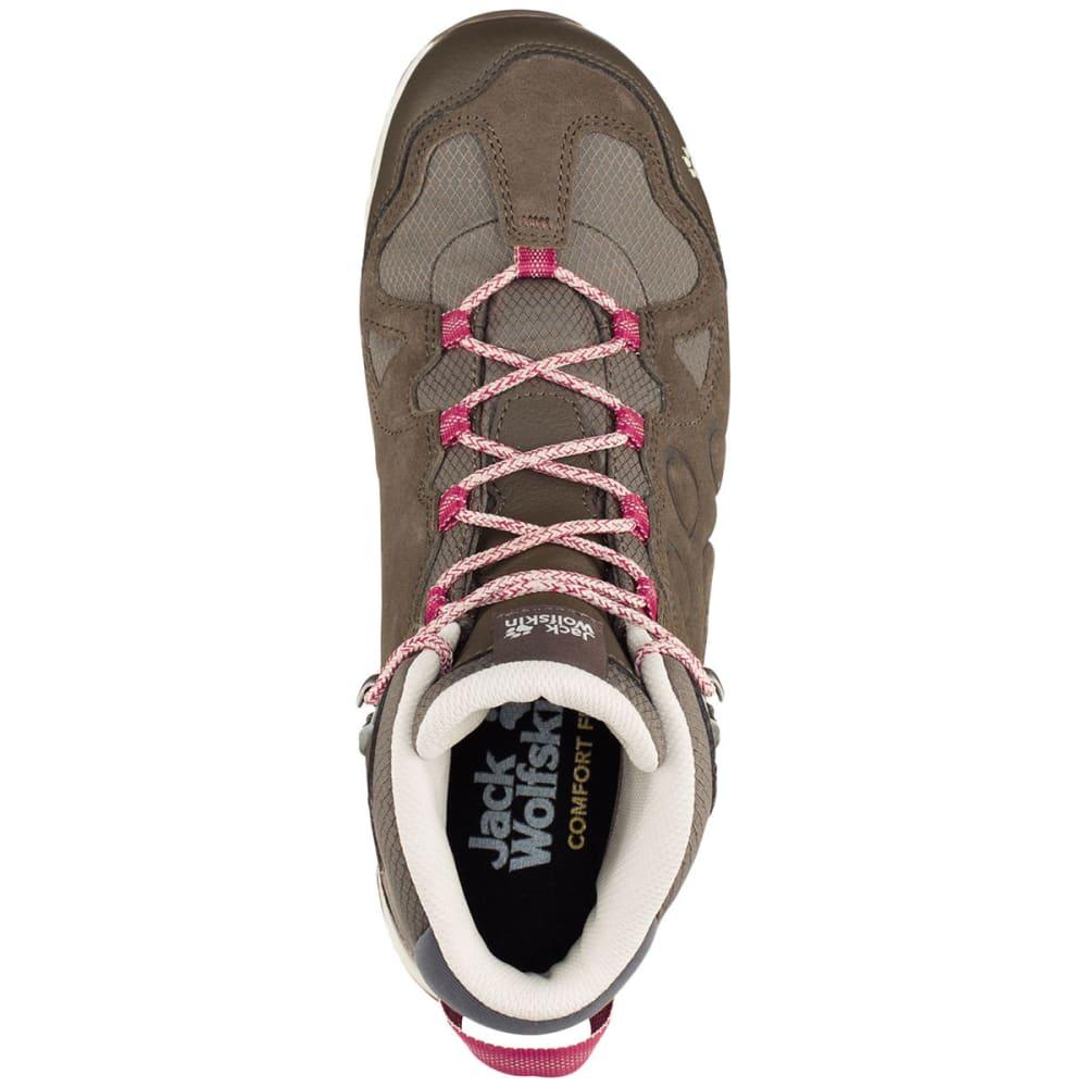 JACK WOLFSKIN Women's Rocksand Texapore Mid Waterproof Hiking Boots, Dark Ruby - DARK RUBY