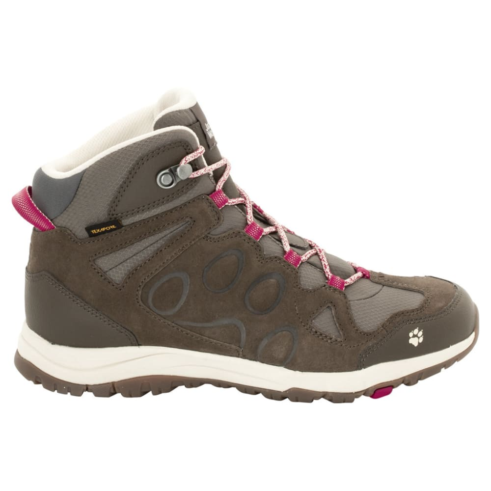 JACK WOLFSKIN Women's Rocksand Texapore Mid Waterproof Hiking Boots, Dark Ruby - DARK RUBY
