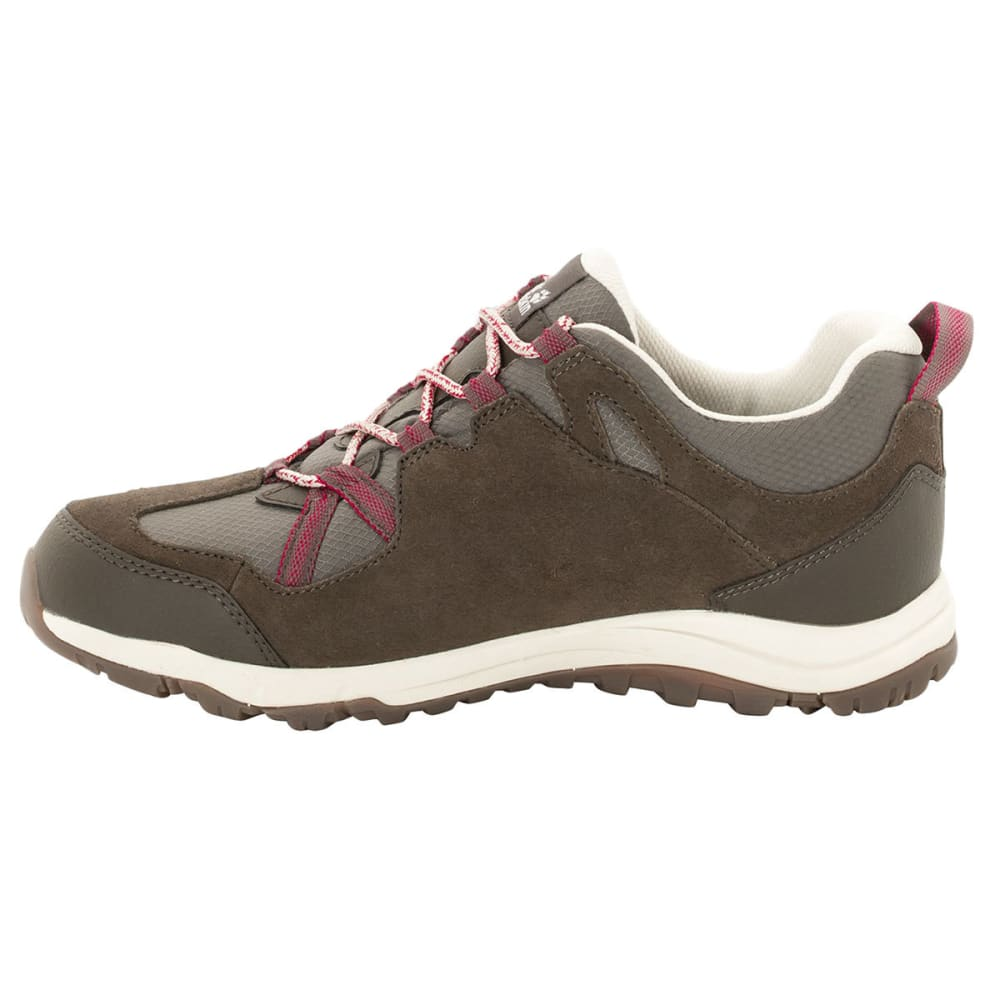 JACK WOLFSKIN Women's Rocksand Texapore Low Waterproof Hiking Shoes, Dark Ruby - DARK RUBY
