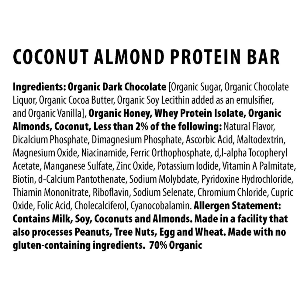 HONEY STINGER Dark Chocolate Coconut Almond 10g Protein Bar - NO COLOR