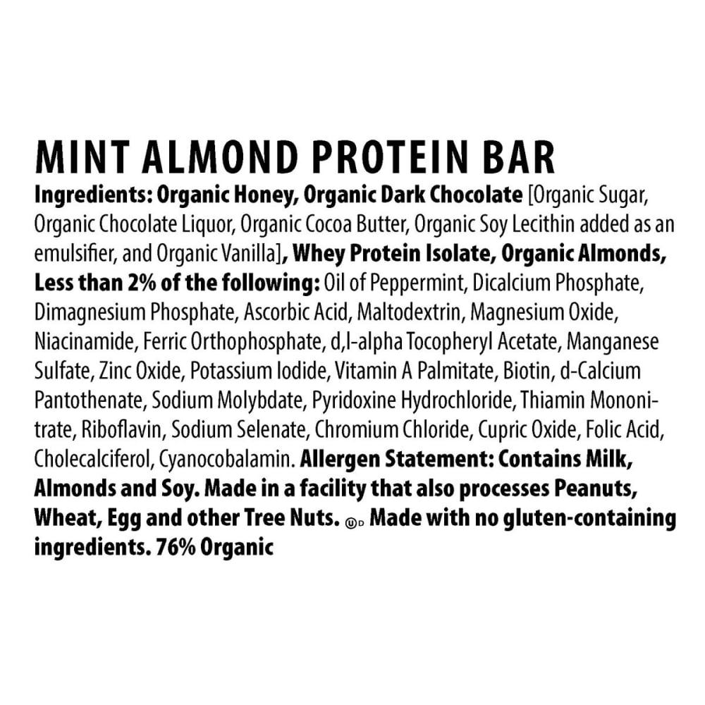 HONEY STINGER Dark Chocolate Mint Almond 10g Protein Bar - NO COLOR