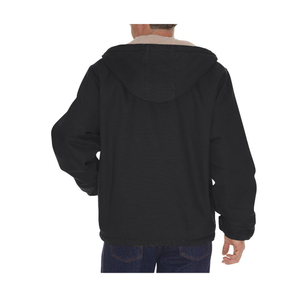 DICKIES Men's Sanded Duck Sherpa Lined Hooded Jacket, Extended Sizes - RNSD BLACK-RBK