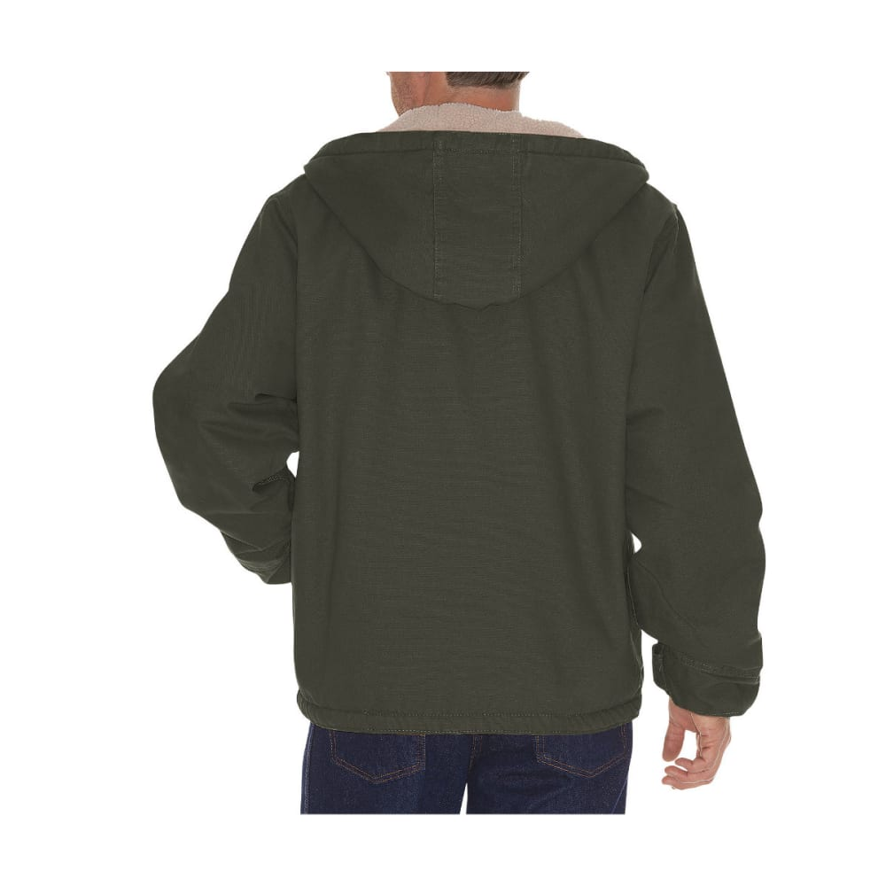 DICKIES Men's Sanded Duck Sherpa Lined Hooded Jacket, Extended Sizes - RNSD BLACK OLIVE-RBV
