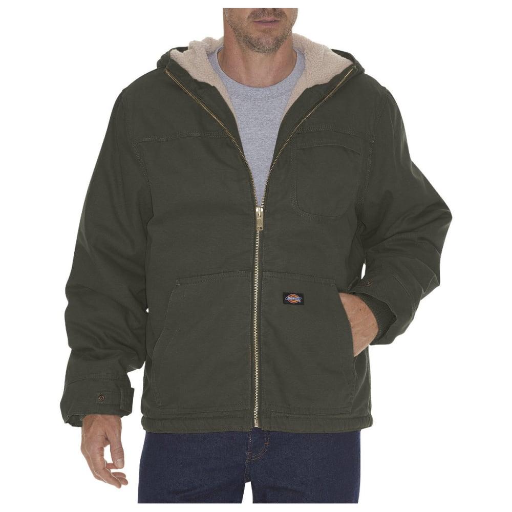 Dickies Men's Sanded Duck Sherpa Lined Hooded Jacket, Extended Sizes - Black TJ350-BT