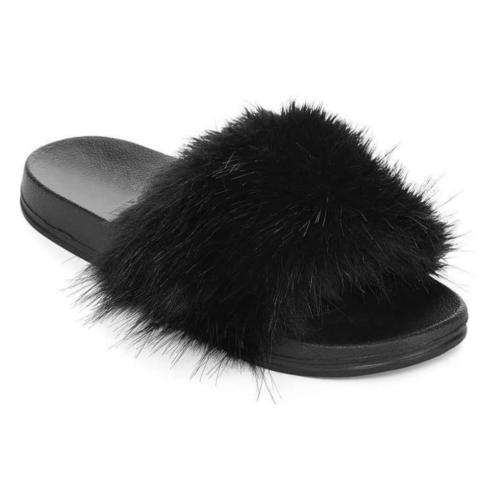 OLIVIA MILLER Women's Fur Slide Sandals - BLACK