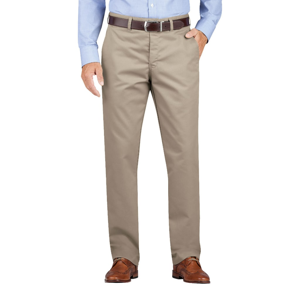 DICKIES Men's Dickies KHAKI Regular Fit Tapered Leg Flat Front Pant - RNSD DESERT SAND-RDS
