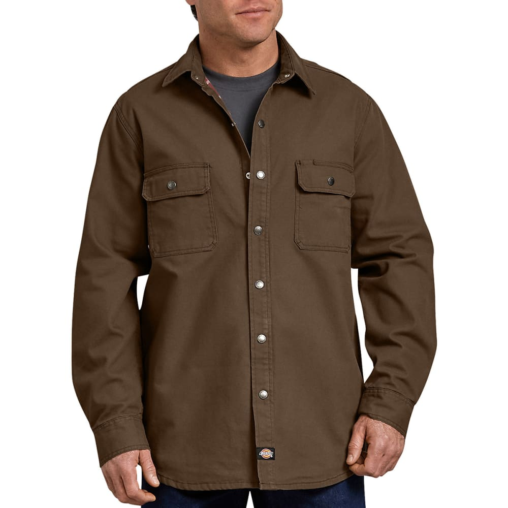 DICKIES Men's Relaxed Fit Flannel-Lined Long-Sleeve Shirt - RNSD TIMBER-RTB