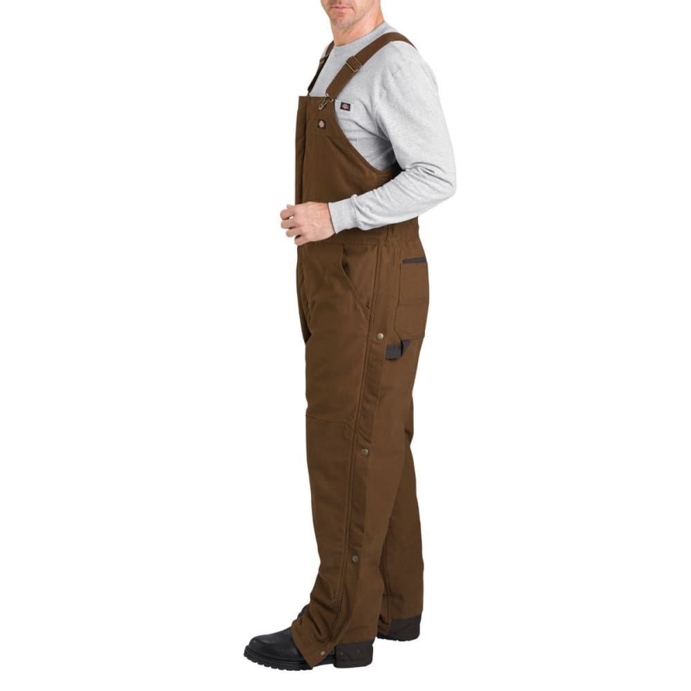 DICKIES Men's Sanded Duck Insulated Bib Overall, Extended Sizes - TIMBER BROWN-TB