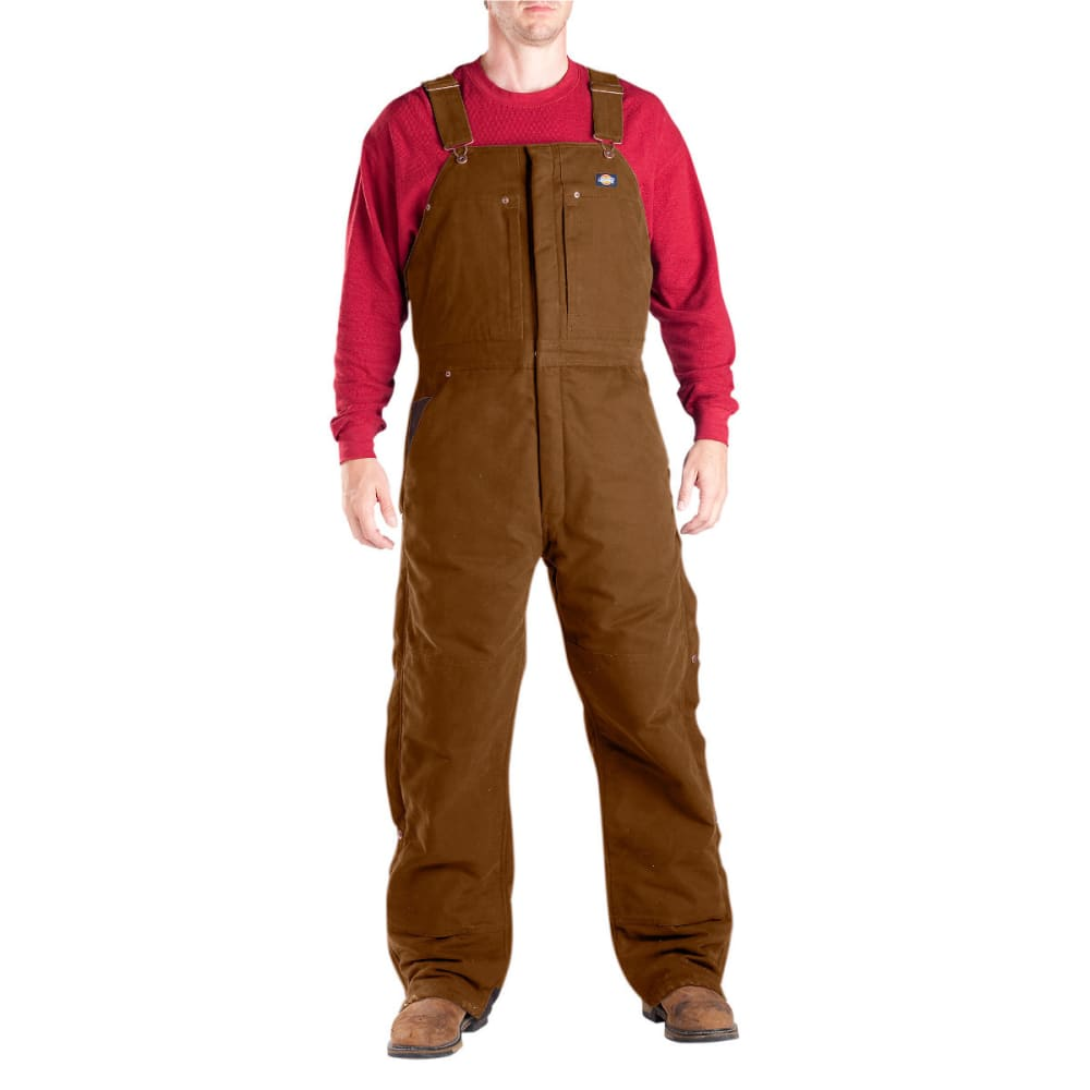 Dickies Men's Sanded Duck Insulated Bib Overall, Extended Sizes - Brown TB246-BT