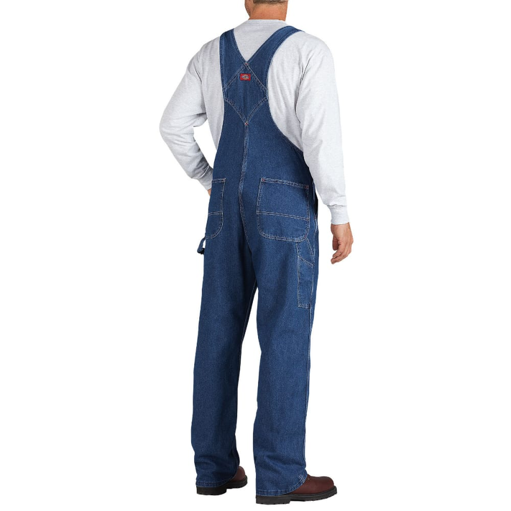 DICKIES Men's Washed Denim Bib Overall, Stonewashed Indigo Blue, Extended Sizes - STNWSHD INDIGO-SNB