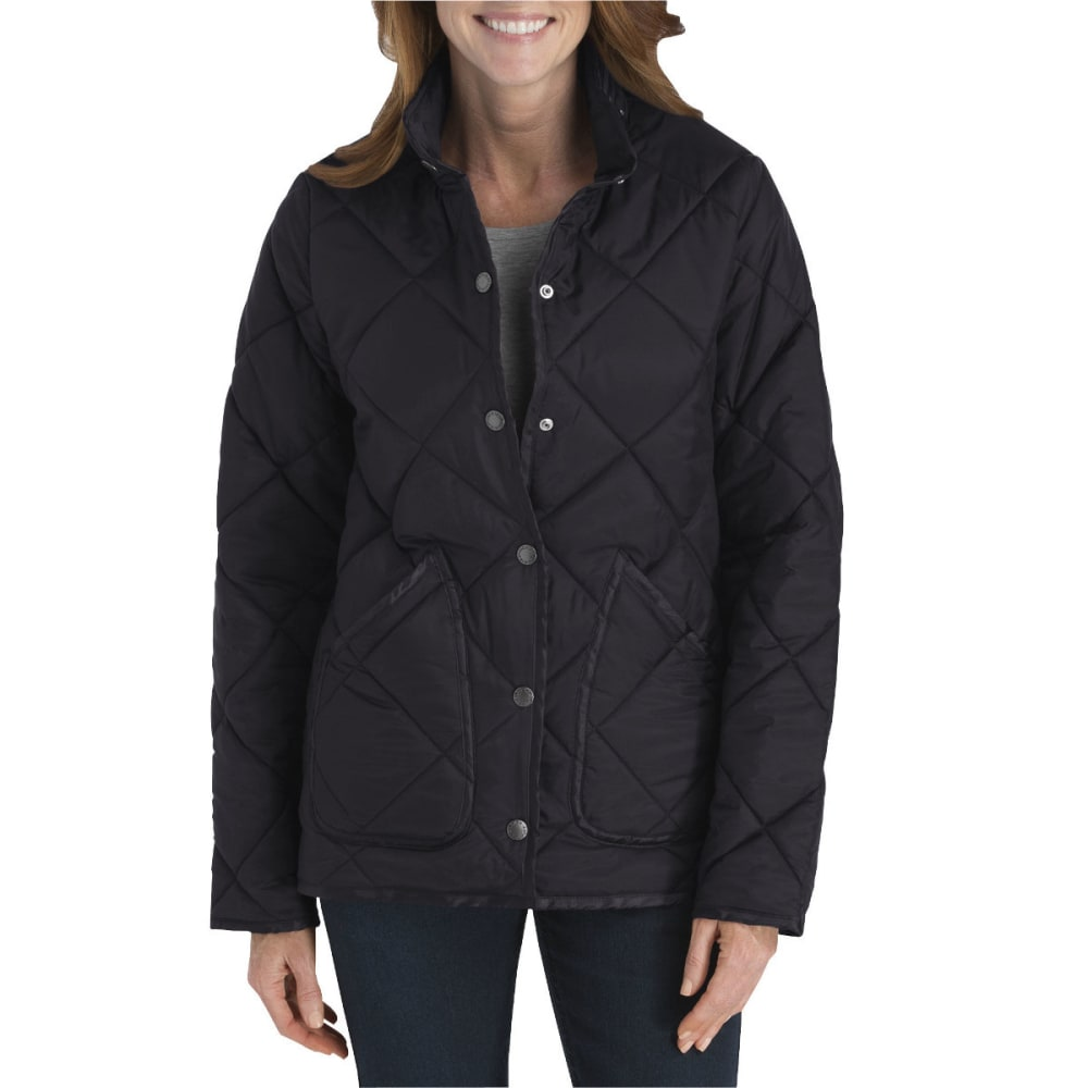 DICKIES Women's Diamond Quilted Nylon Jacket - BLACK-BK