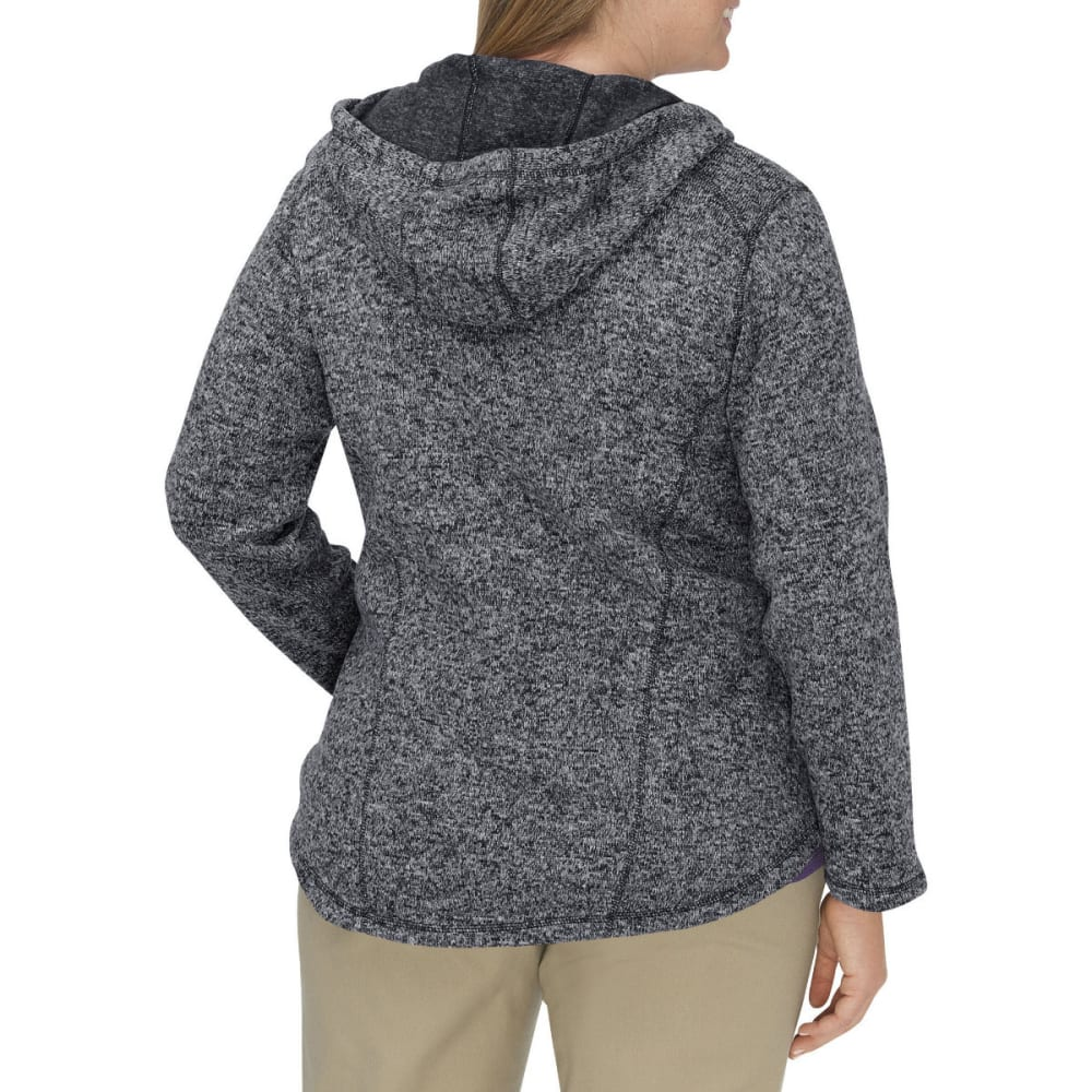 DICKIES Women's Sweater Hooded Fleece Jacket, Extended Sizes - BLACK/WHITE-BKWH