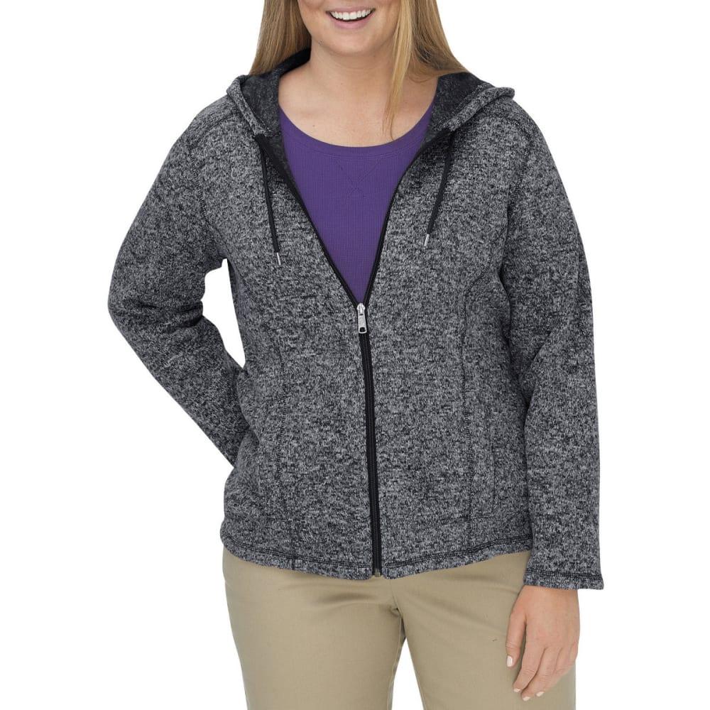 DICKIES Women's Sweater Hooded Fleece Jacket, Extended Sizes - BLACK/WHITE-BKWH