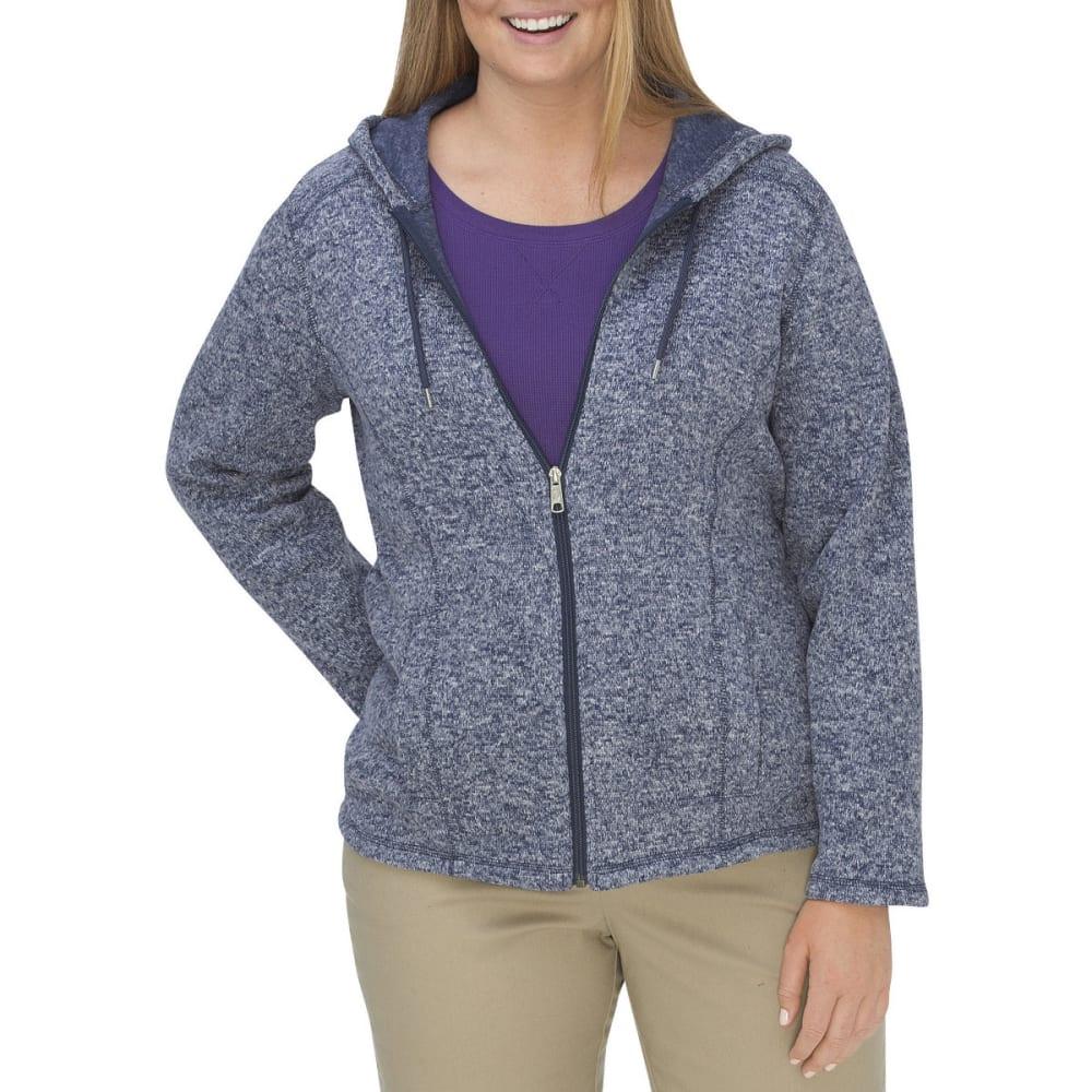 DICKIES Women's Sweater Hooded Fleece Jacket, Extended Sizes - DK DENIM/WHITE-DMWH
