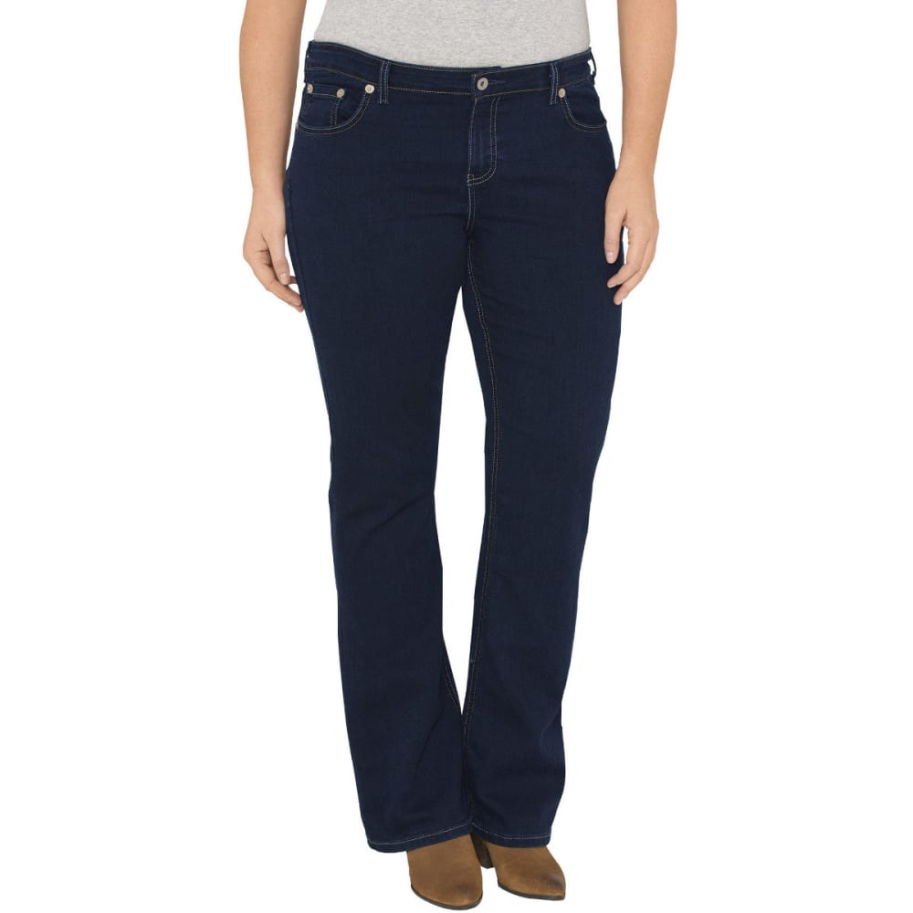 DICKIES Women's Relaxed Fit Boot Cut Leg Denim Jean, Extended Sizes - DK STONE WASH-DSW