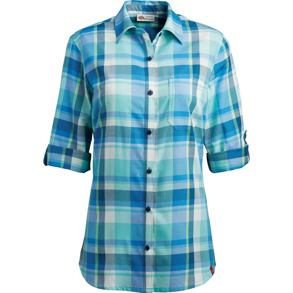 DICKIES Women's Quarter Sleeve Roll-up Plaid Shirt, Extended Sizes - BLUE/AQUA-BJP