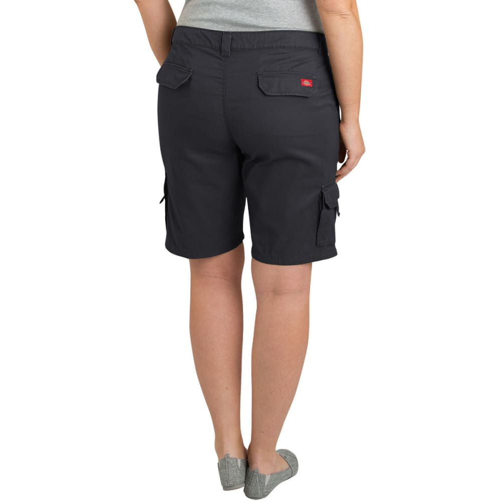 "DICKIES Women's 10"" Relaxed Fit Cotton Cargo Short, Extended Sizes - RNSD BLACK-RBK"