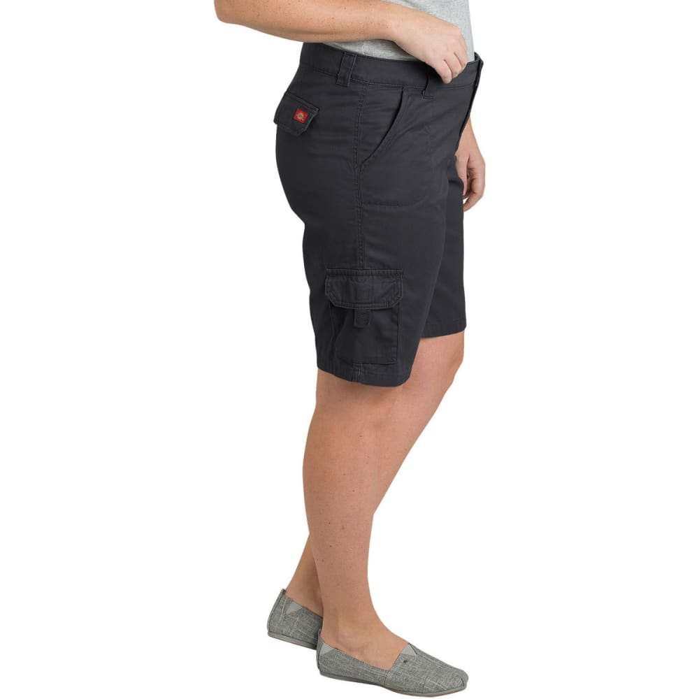 """DICKIES Women's 10"""" Relaxed Fit Cotton Cargo Short, Extended Sizes - RNSD BLACK-RBK"""