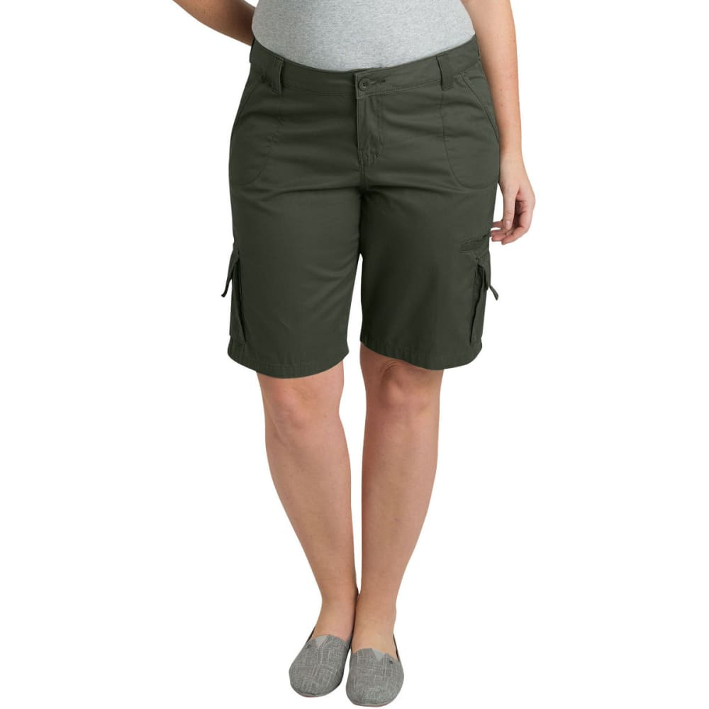 "DICKIES Women's 10"" Relaxed Fit Cotton Cargo Short, Extended Sizes 16"